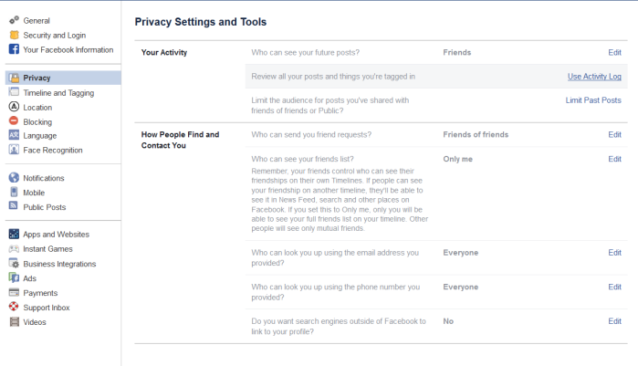 Facebook settings 2