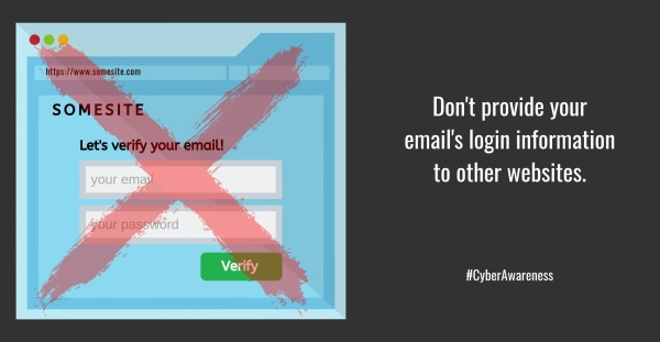 Don't provide your email login to other websites